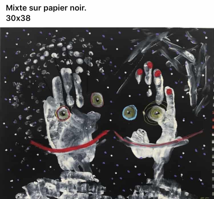 Mixte sur papier noir 30×38